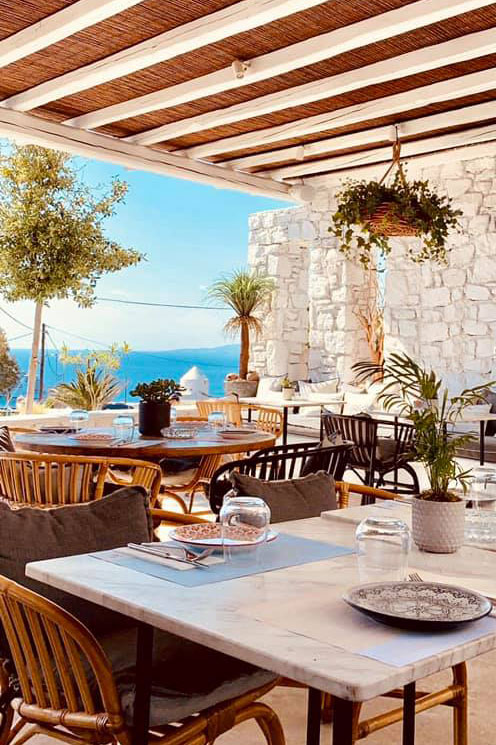 Breakfast with view over Mykonos town